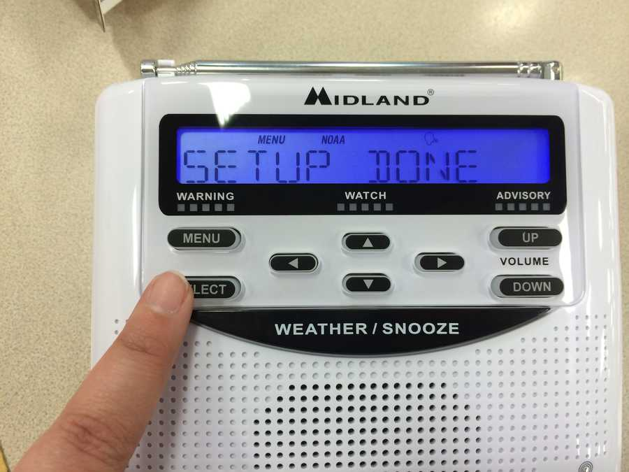 Setup complete! Your radio will now sound when an alert is issued for your county.For more detailed instructions, or for help, see the Owner's Manual here.