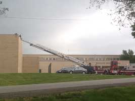 Images of a massive police response to East Gate Middle School after a man was reported on the school's roof.