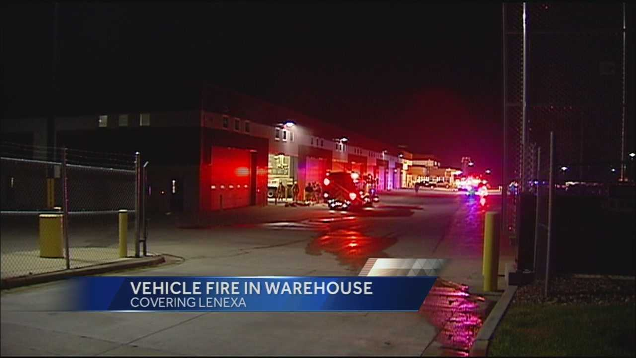 Vehicle fire in warehouse