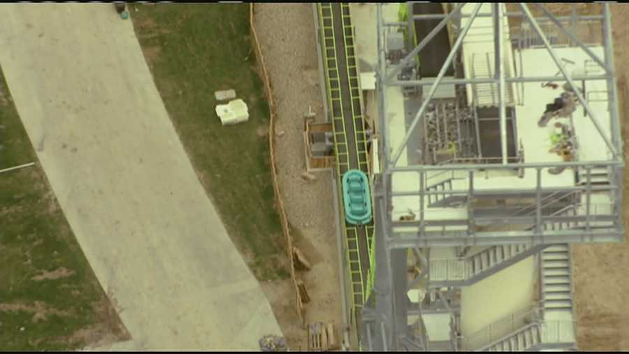 Images of Verruckt, the world's tallest water slide under construction at Schlitterbahn in Kansas City, Kan. The water park announced on Wednesday that the opening of the water slide was delayed due to adjustments. NewsChopper 9 HD flew over the water slide, and found much of it taken apart.