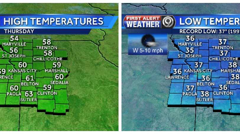 Thursday's highs and overnight lows