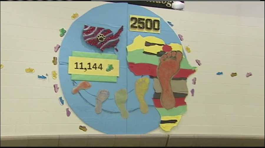Students at California Trail Middle School collected 11,144 shoes for children in Kenya.
