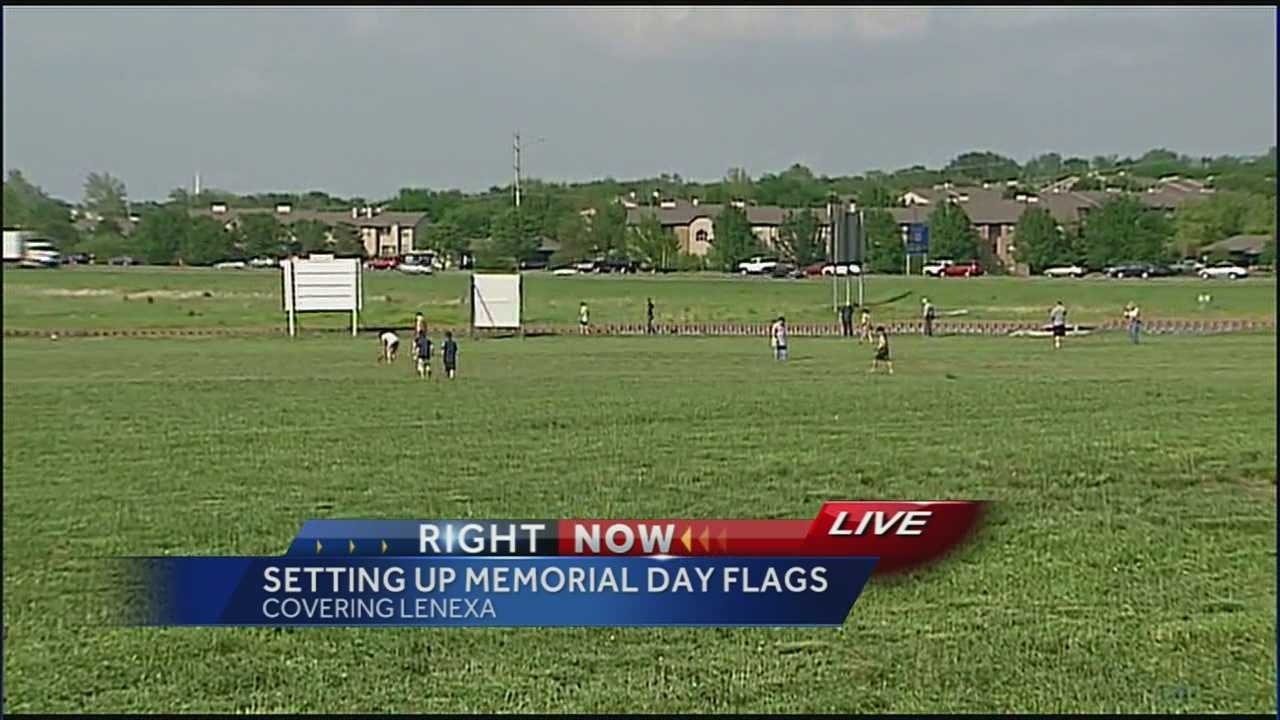 Boy Scouts and Gold Star Mothers are beginning work on a field that will have 1,400 flags -- a way to say thanks to veterans for their service and sacrifices on Memorial Day.