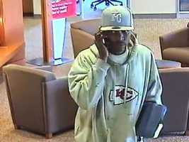 Overland Park, Kan., police release pictures of man wanted in connection with a bank robbery Thursday at Bank of America at 158th Street and Metcalf Avenue.