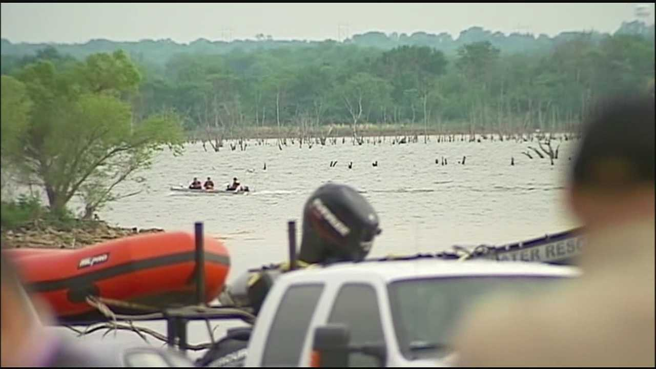 Police said a man who was boating with two children at Hillsdale Lake on Saturday went into the water and never came back out.