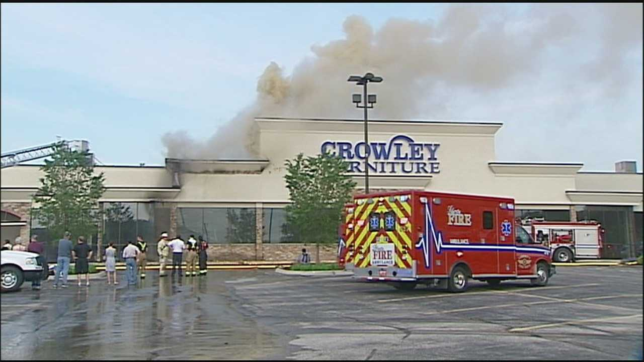 Crowley Furniture's Liberty store sustained heavy damage in a fire early Sunday morning, but the owner says he plans to rebuild.