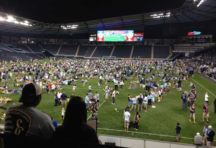 A view of the massive crowd gathered for the U.S. World Cup warmup game from one end of Sporting Park.