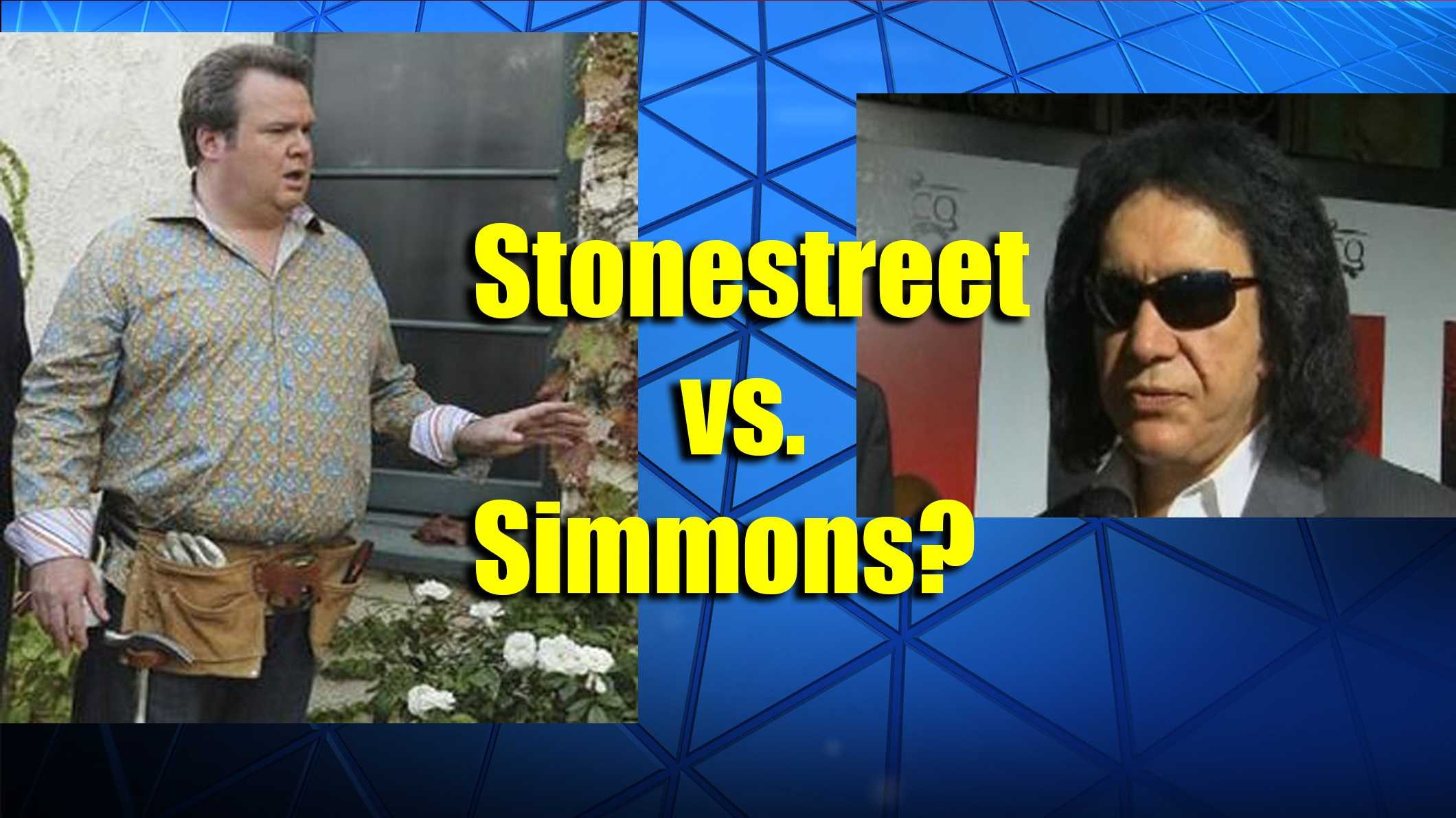 Why is Eric Stonestreet asking Gene Simmons to apologize to his mother?