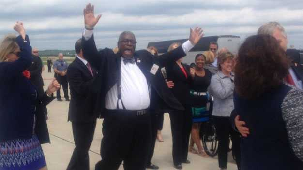 Image Sly James dances to greet RNC