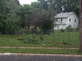 High winds snapped a power pole in the back yard of a home in the 800 block of North Purdom in Olathe, Kansas.
