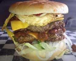 Say hello to this monster burger from Peculiar Drive-In at 159 S. Peculiar Dr., Peculiar, Missouri.