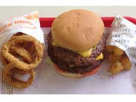 This is the double cheeseburger served up with onion rings and tater tots at Pauls's Drive-In at 10424 Blue Ridge Blvd., Kansas City, Missouri