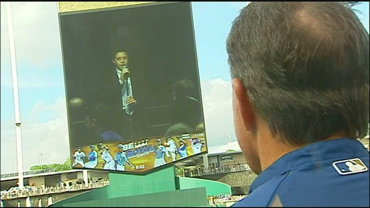 Image Reat Underwood video played at Kauffman Stadium