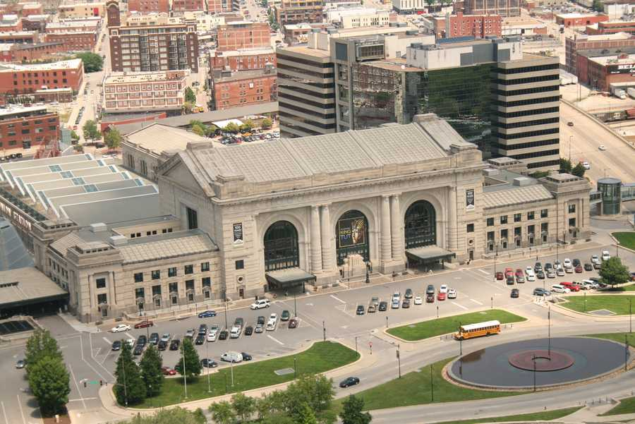 A view of Union Station below the heights of Liberty Memorial.