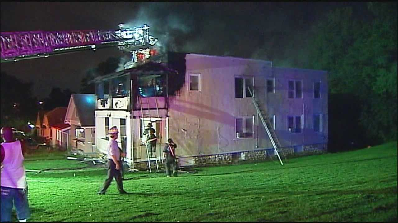 One person was injured when they jumped out the window trying to escape an apartment building fire early Monday morning in Kansas City, Mo.