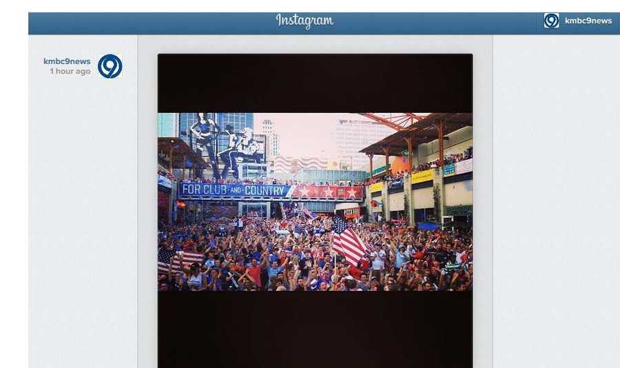 The moment of jubilation captured on KMBC's Instagram account as the U.S. Soccer team takes game one of its 2014 World Cup tournament.
