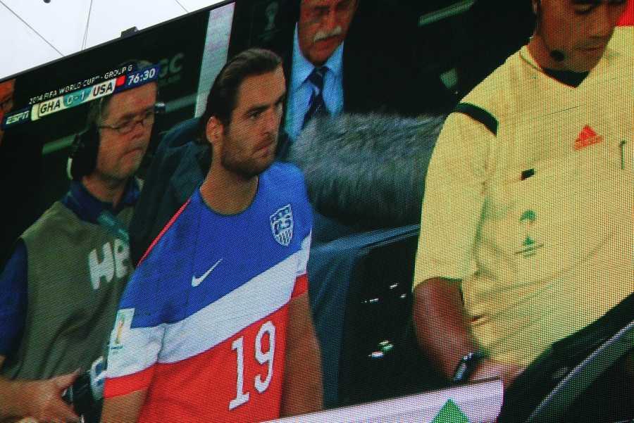 SportingKC star Graham Zusi prepares to come into the game.