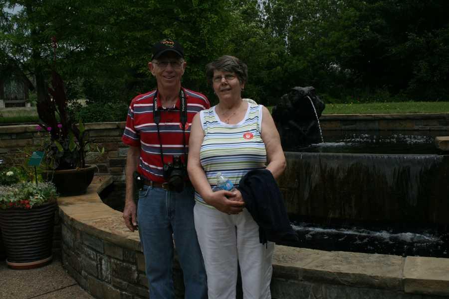Gary and Judy enjoy the beauty of Powell Gardens.
