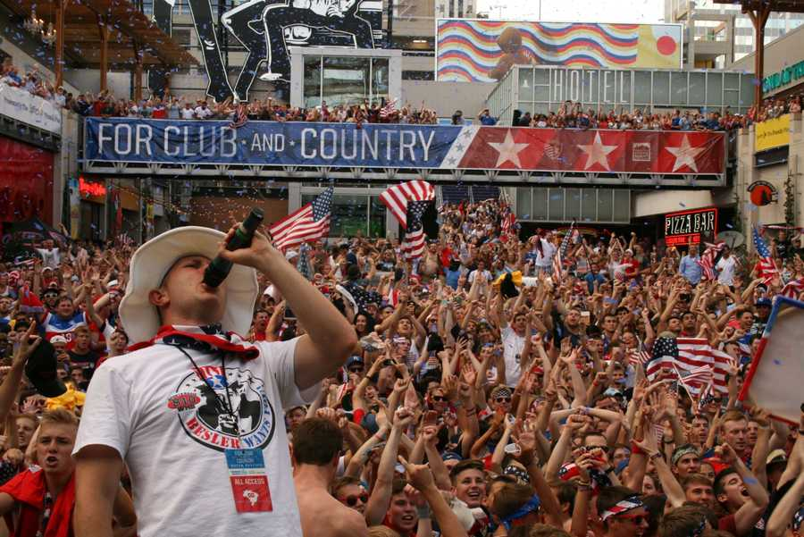 U.S. Soccer fans felt confidence late with a 2-1 lead.  Click here to watch more video of crowds cheering at KCP&L in the late stages.