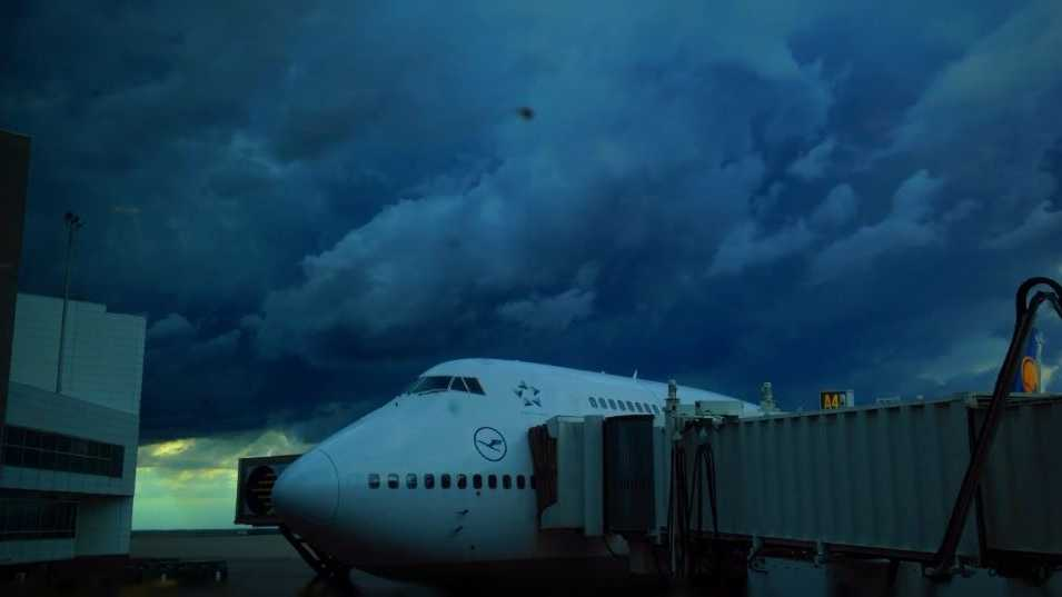 A tornado warning forced passengers at Denver International Airport to shelter in a basement.