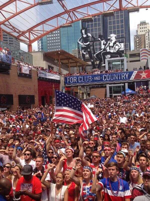 Images from the watch party at Kansas City's Power and Light District for the World Cup match between the United States and Germany.