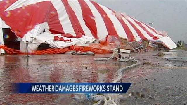 Image Fireworks stand blown over