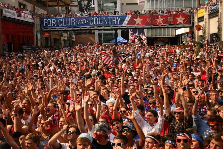The many fans who stayed, despite a 2-0 deficit, enjoy a late goal by the U.S. Soccer squad.