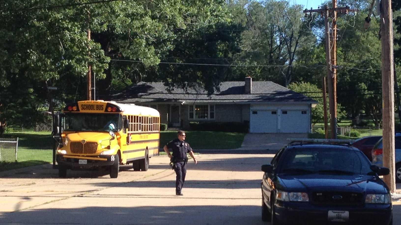 Pedestrian hit by school bus