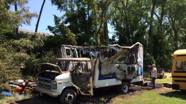 Burned out church van