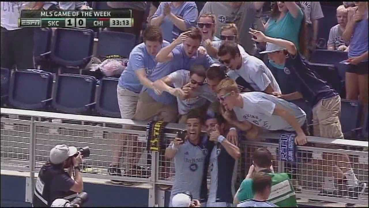 Watch as a Sporting Kansas City player receives a yellow card for taking a selfie during a goal celebration on Sunday.