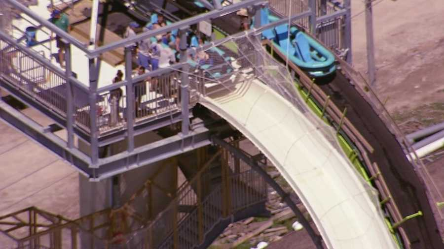 Images of the world's tallest water slide, named Verruckt, being tested by workers at Schlitterbahn in Kansas City, Kan.  The extreme water slide is set to open Thursday.