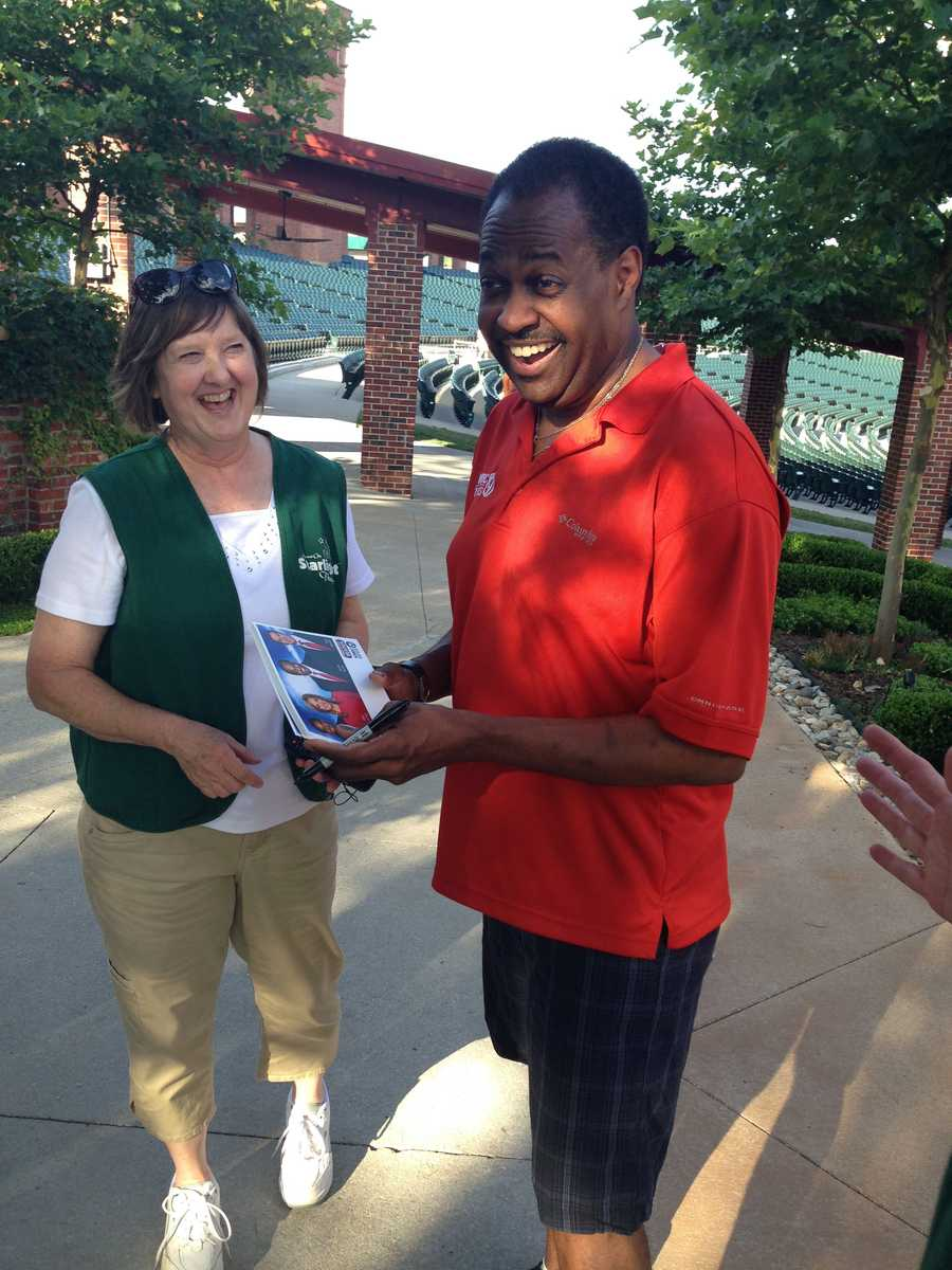 "KMBC 9 News Chief Meteorologist Bryan Busby shares laughs and autographs with ushers at Kansas City's Starlight Theatre.  Busby visited as part of KMBC's ""Hometown Weather"" tour traveling to different locations for live reports throughout July."