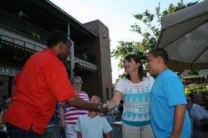 """KMBC 9 News Chief Meteorologist Bryan Busby meets viewers dining before a show at Starlight Theatre. Busby visited as part of KMBC's """"Hometown Weather"""" tour traveling to different locations for live reports throughout July."""