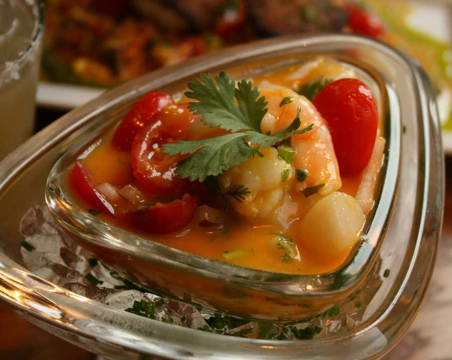 Seafood ceviche with shrimp and fresh tomatoes is served as an appetizer. Mestizo is just one of many restaurants surrounding the Park Place Leawood concert series.