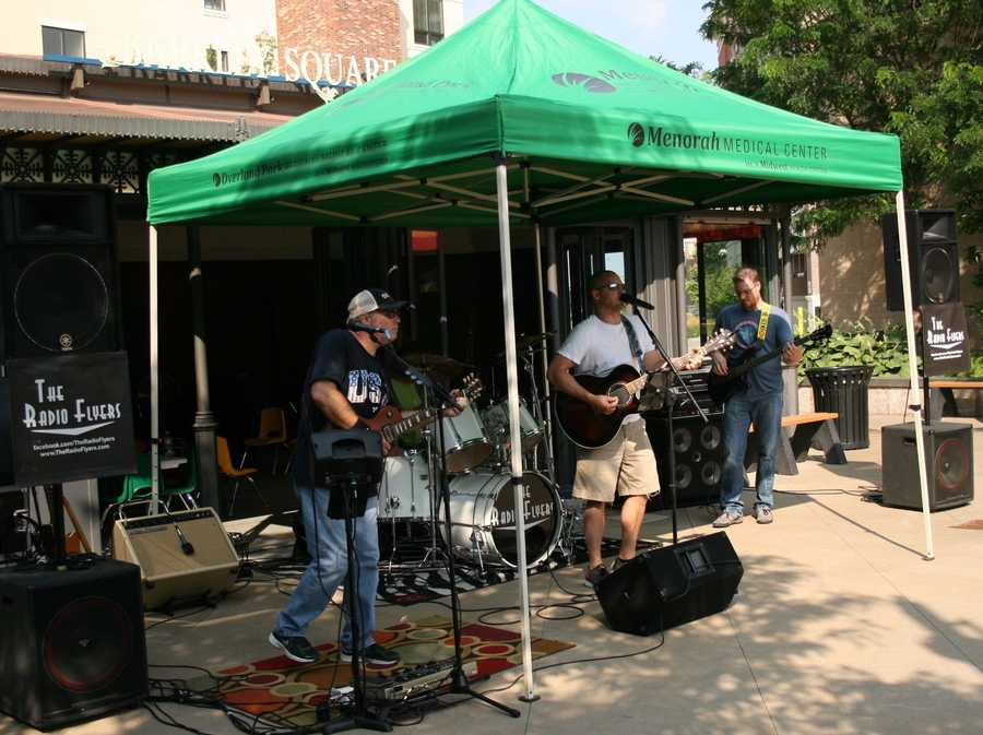 """The Radio Flyers play Wednesday during the """"Summer Sounds in the Park"""" concert series in Leawood. KMBC 9 News crews attended as part July's """"Hometown Weather"""" tour."""