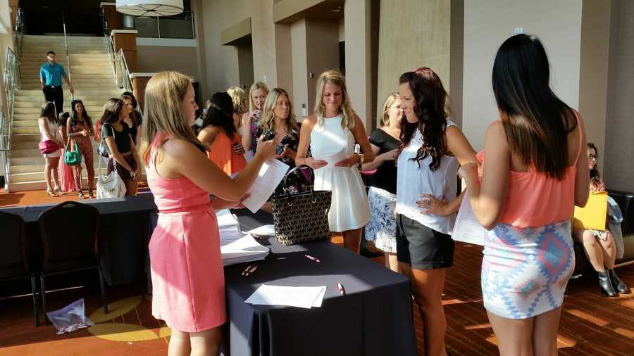 "Images from Kansas City's ""Bachelor"" casting call, where employees from the show were looking for women to appear in an upcoming season."