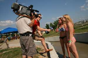"""KMBC 9 News took the plunge Thursday during our """"Hometown Weather"""" tour. We visited Schlitterbahn, the home of the world's tallest water-slide. Meteorologist Nick Bender chatted with thrill-seekers after they got off the raft."""