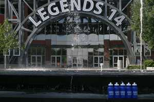 Bryan Busby's Hometown Weather tour travels to the Legends Outlets. Busby's live weather reports were done by the main fountain for KMBC 9 News at 5 and 6 o'clock Monday. Water bottles were on display before being given away.