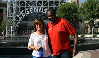 Bryan Busby's Hometown Weather tour travels to the Legends Outlets. Busby's live weather reports were done by the main fountain for KMBC 9 News at 5 and 6 o'clock Monday.