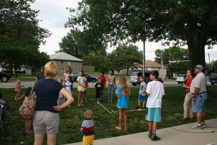"Children test out the rocket launcher at the Oak Park Library during KMBC's ""Hometown Weather"" tour.  This event is one of many MakerSpace trips organized by the Johnson County Library system."