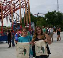 "KMBC's ""Hometown Weather"" tour traveled to Worlds of Fun Thursday.  Many guests got free water-bottles, key-chains and canvas bags featuring ""Ellen"" coming to KMBC-TV in September."