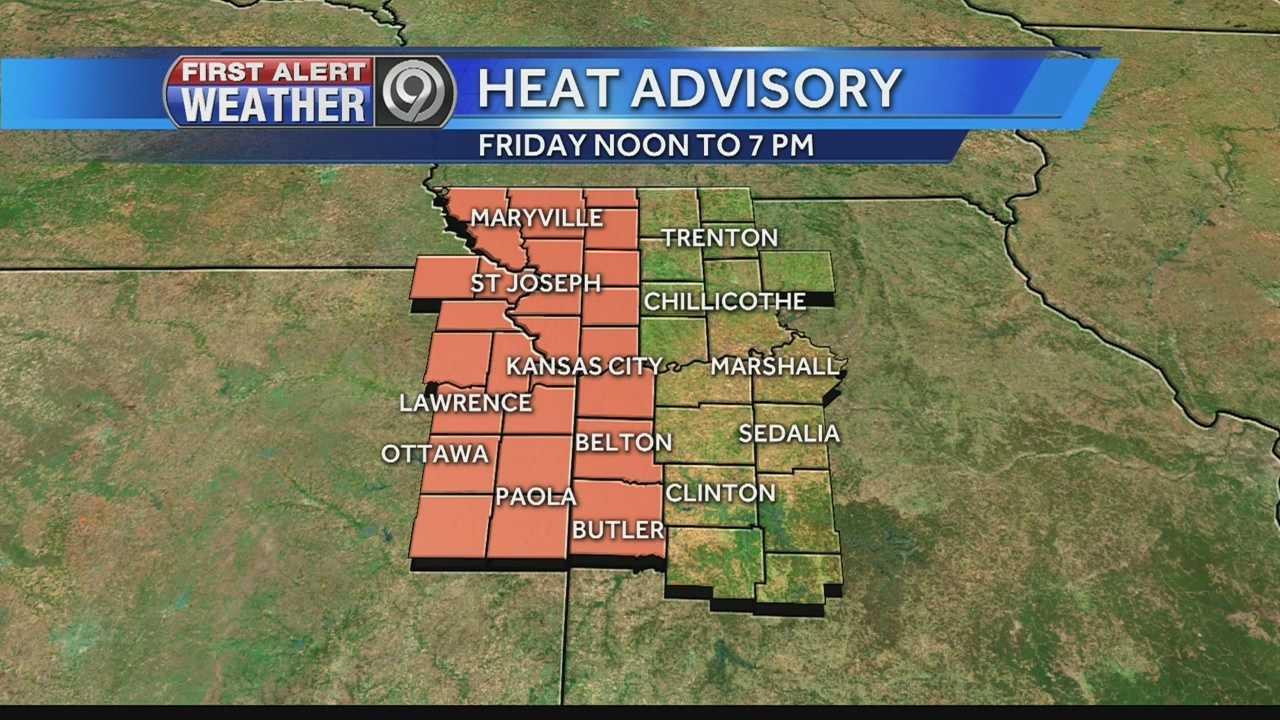 Heat Advisory Map for Friday