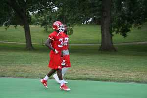 Photos from Chiefs training camp at Missouri Western State University in St. Joseph. Jamaal Charles jogs down to the practice field Friday morning.