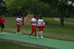 Photos from Chiefs training camp at Missouri Western State University in St. Joseph. Rookie Dee Ford and Derrick Johnson share a laugh on their walk down to the practice field.Click herefor more information on Chiefs camp.