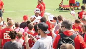 Photos from Chiefs training camp at Missouri Western State University in St. Joseph. Safety Eric Berry signs autographs after practice.