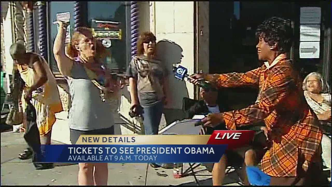 People stand in line for hours to get tickets to see President
