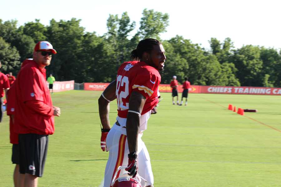 Photos from Chiefs training camp Monday morning at Missouri Western State University.  Dwayne Bowe takes the field.  Click here for more information on Chiefs camp.