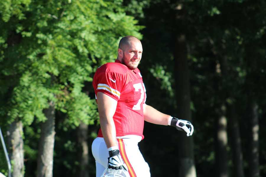 Photos from Chiefs training camp Monday morning at Missouri Western State University.  Lineman Jeff Linkenbach takes the field.  Click here for more information on Chiefs camp.