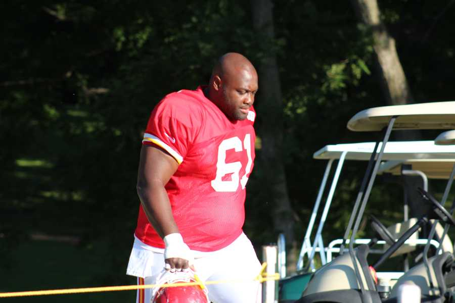 Photos from Chiefs training camp Monday morning at Missouri Western State University.  Lineman Rodney Hudson takes the field.  Click here for more information on Chiefs camp.