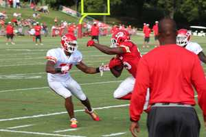 Photos from Chiefs training camp Monday morning at Missouri Western State University.  Starting running back Jamaal Charles sprints down the side of the field.  Click here for more information on Chiefs camp.